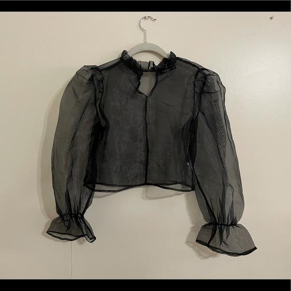 Sheer black puff sleeve top